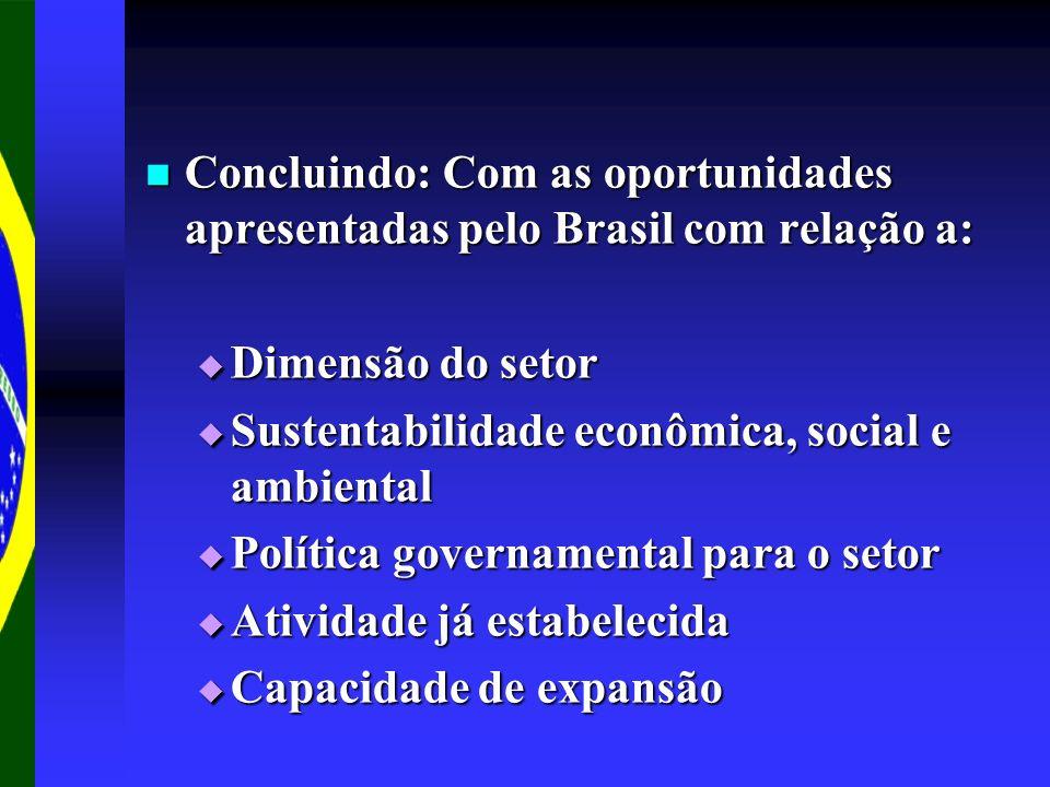 Concluindo: Com as oportunidades apresentadas pelo Brasil com relação a: Concluindo: Com as oportunidades apresentadas pelo Brasil com relação a: Dime