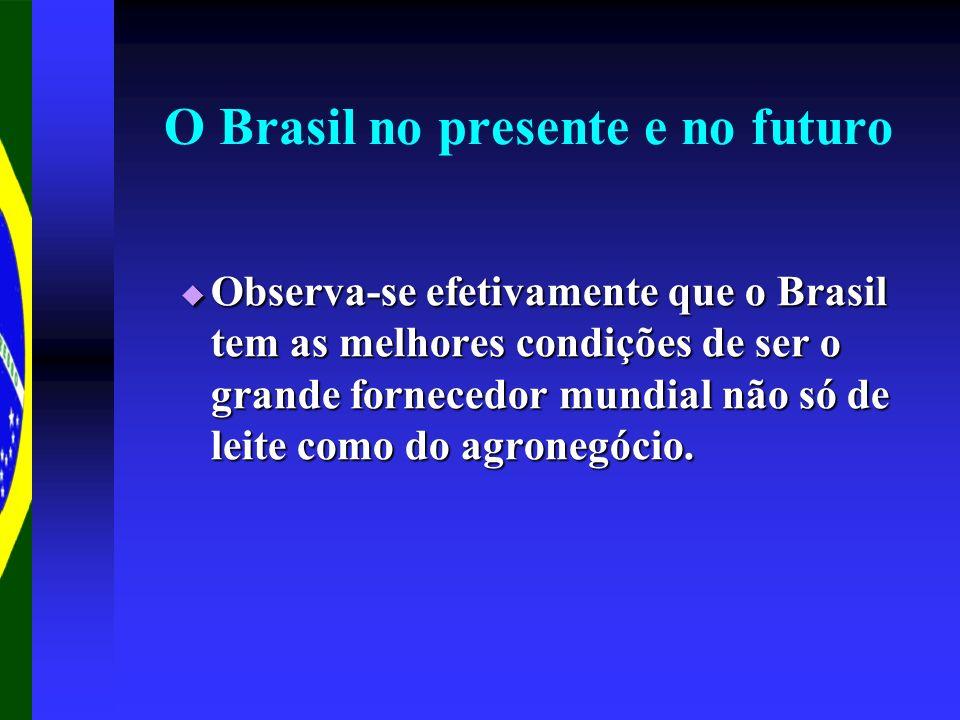 O Brasil no presente e no futuro Observa-se efetivamente que o Brasil tem as melhores condições de ser o grande fornecedor mundial não só de leite com