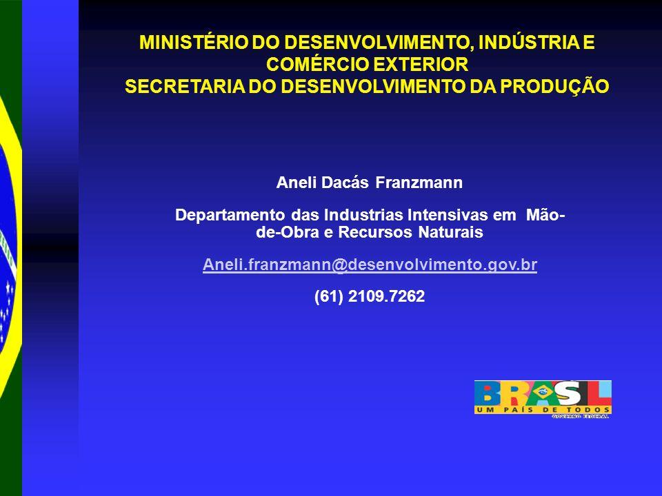 MINISTÉRIO DO DESENVOLVIMENTO, INDÚSTRIA E COMÉRCIO EXTERIOR SECRETARIA DO DESENVOLVIMENTO DA PRODUÇÃO Aneli Dacás Franzmann Departamento das Industri