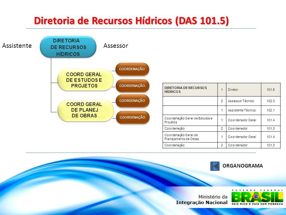 Diretoria de Recursos Hídricos (DAS 101.5) ORGANOGRAMA DIRETORIA DE RECURSOS HÍDRICOS COORD GERAL DE ESTUDOS E PROJETOS COORD GERAL DE PLANEJ DE OBRAS