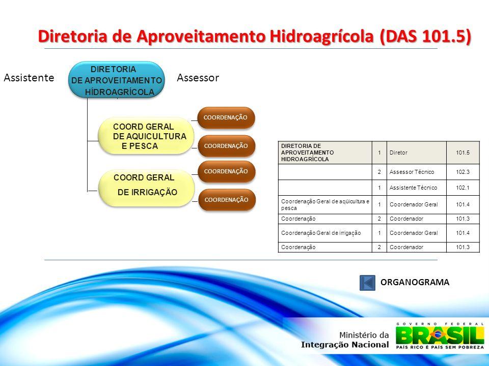 Diretoria de Aproveitamento Hidroagrícola (DAS 101.5) ORGANOGRAMA DIRETORIA DE APROVEITAMENTO HÍDROAGRÍCOLA COORD GERAL DE AQUICULTURA E PESCA COORD G