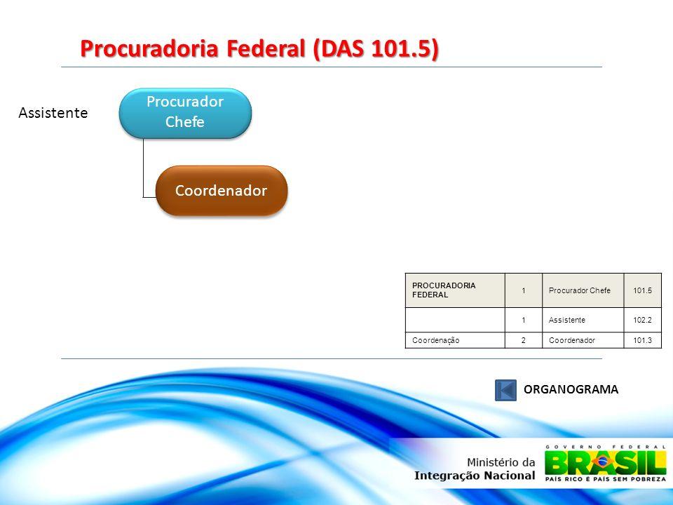 Procurador Chefe Procurador Chefe Coordenador Assistente Procuradoria Federal (DAS 101.5) ORGANOGRAMA PROCURADORIA FEDERAL 1Procurador Chefe101.5 1Ass