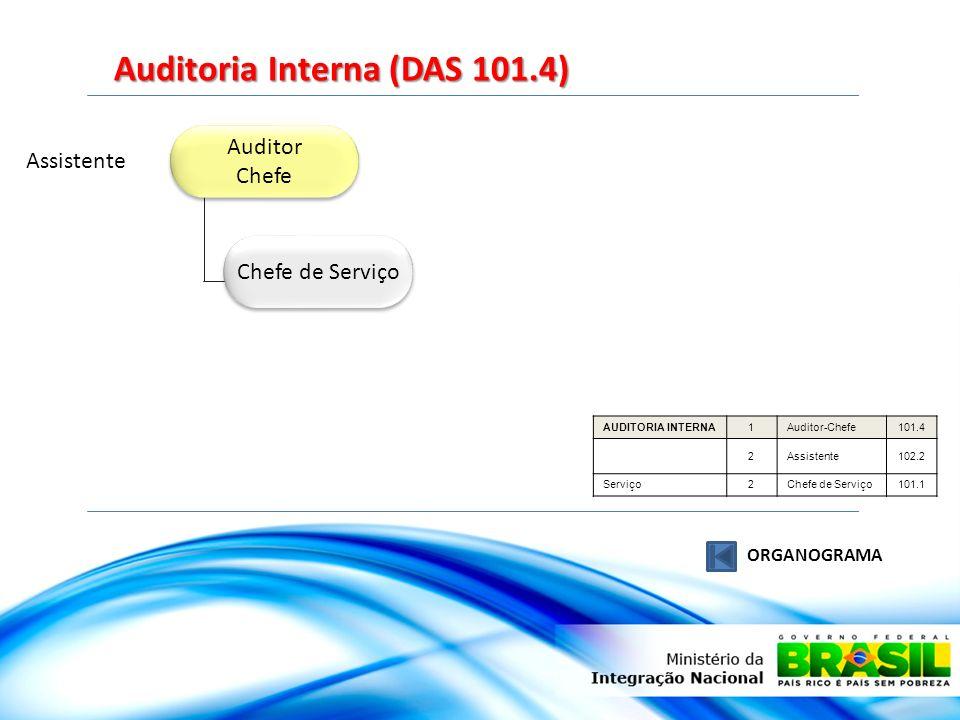 Auditor Chefe Auditor Chefe Chefe de Serviço Assistente Auditoria Interna (DAS 101.4) ORGANOGRAMA AUDITORIA INTERNA1Auditor-Chefe101.4 2Assistente102.