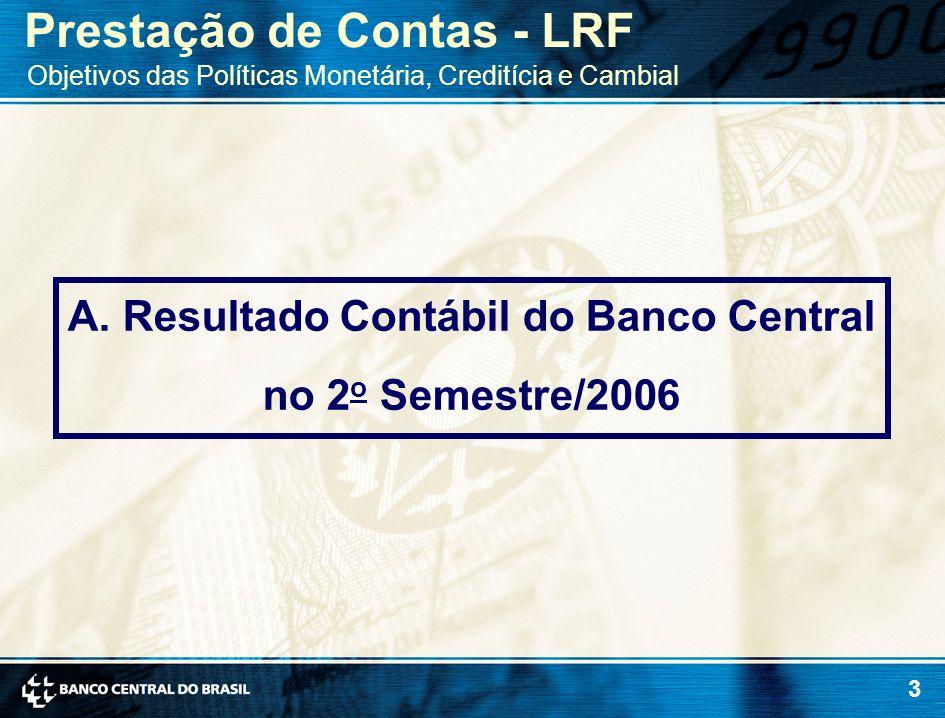 3 A. Resultado Contábil do Banco Central no 2 o Semestre/2006 Prestação de Contas - LRF Objetivos das Políticas Monetária, Creditícia e Cambial