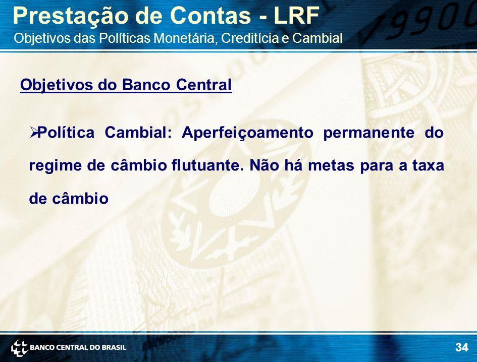 34 Objetivos do Banco Central Política Cambial: Aperfeiçoamento permanente do regime de câmbio flutuante. Não há metas para a taxa de câmbio Prestação