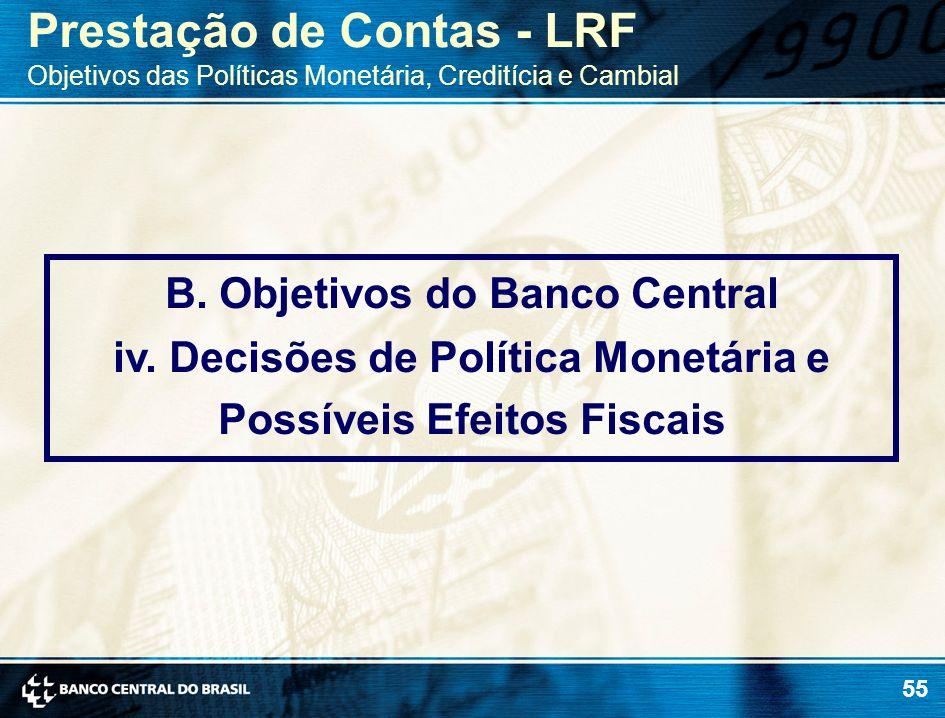55 B. Objetivos do Banco Central iv. Decisões de Política Monetária e Possíveis Efeitos Fiscais Prestação de Contas - LRF Objetivos das Políticas Mone