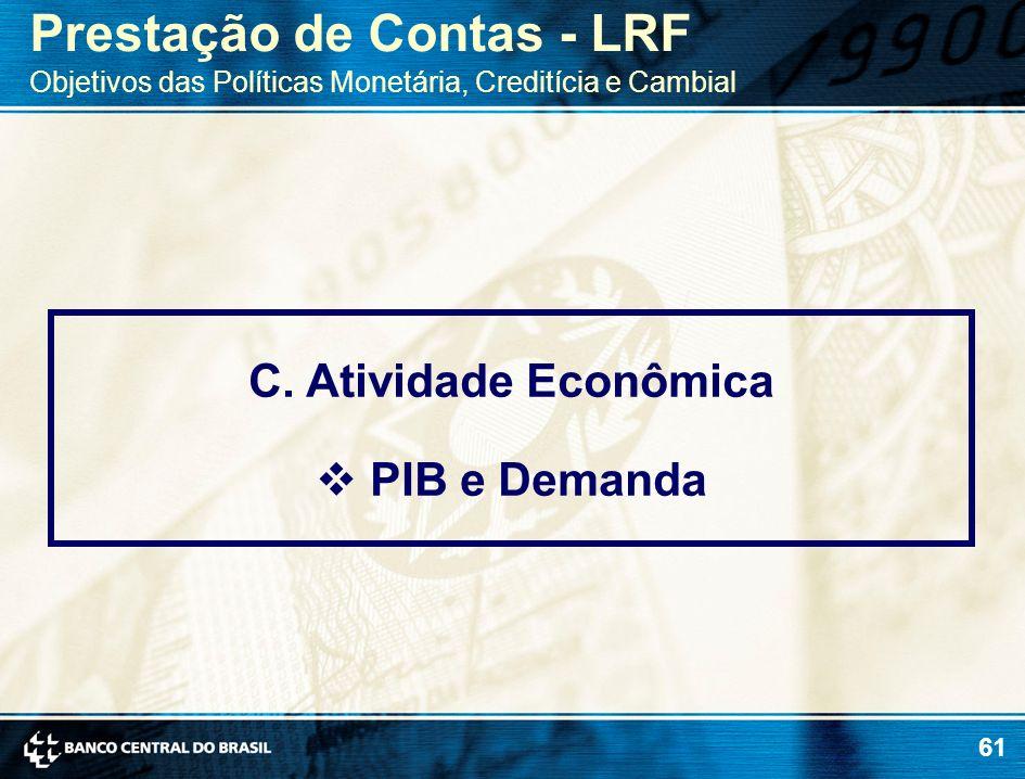 61 C. Atividade Econômica PIB e Demanda Prestação de Contas - LRF Objetivos das Políticas Monetária, Creditícia e Cambial