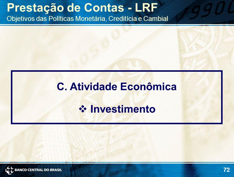 72 C. Atividade Econômica Investimento Prestação de Contas - LRF Objetivos das Políticas Monetária, Creditícia e Cambial