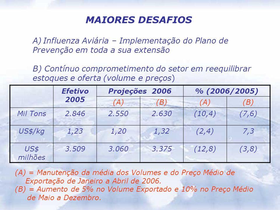 MAIORES DESAFIOS A)Influenza Aviária – Implementação do Plano de Prevenção em toda a sua extensão B) Contínuo comprometimento do setor em reequilibrar