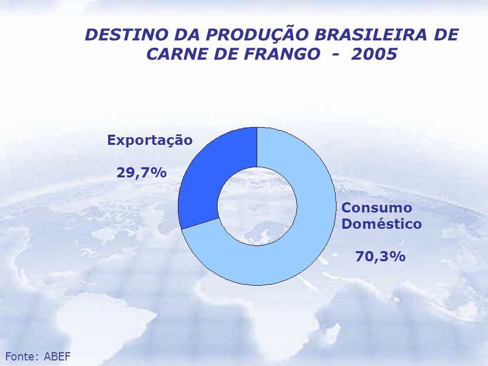 DESTINO DA PRODUÇÃO BRASILEIRA DE CARNE DE FRANGO - 2005 Consumo Doméstico 70,3% Exportação 29,7% Fonte: ABEF