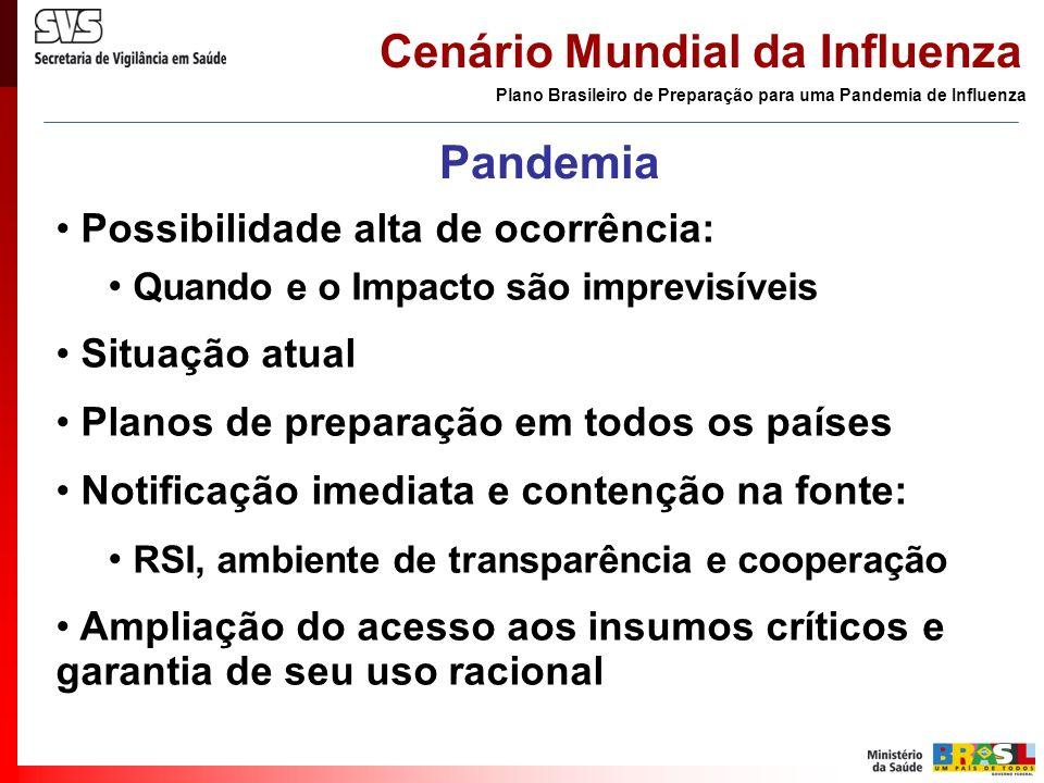 Cenário Mundial da Influenza Plano Brasileiro de Preparação para uma Pandemia de Influenza Pandemia Possibilidade alta de ocorrência: Quando e o Impac