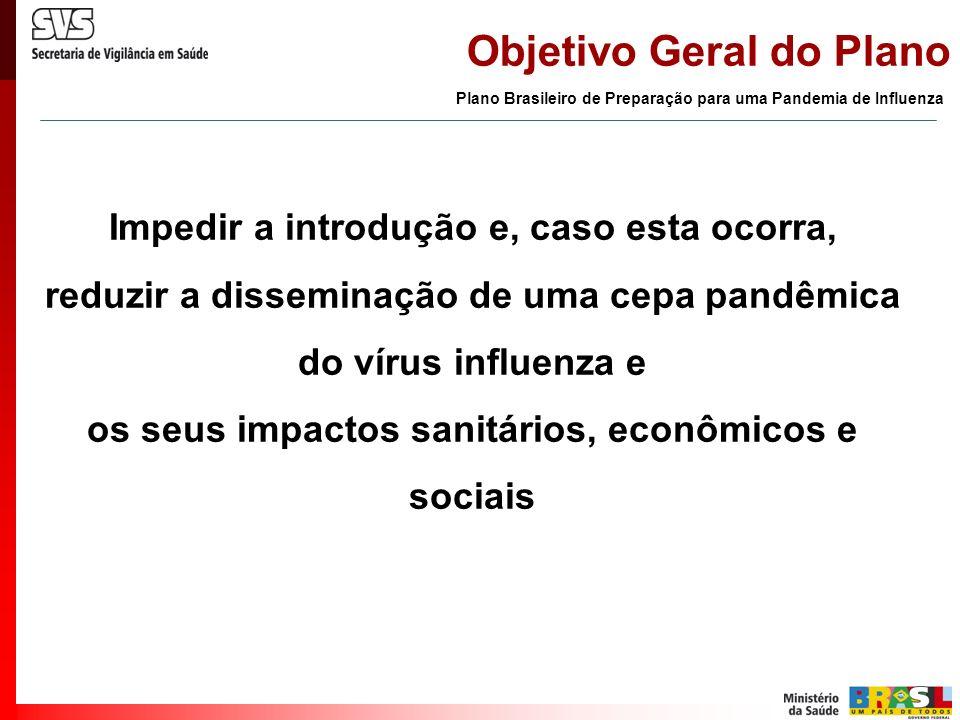 Objetivo Geral do Plano Impedir a introdução e, caso esta ocorra, reduzir a disseminação de uma cepa pandêmica do vírus influenza e os seus impactos s