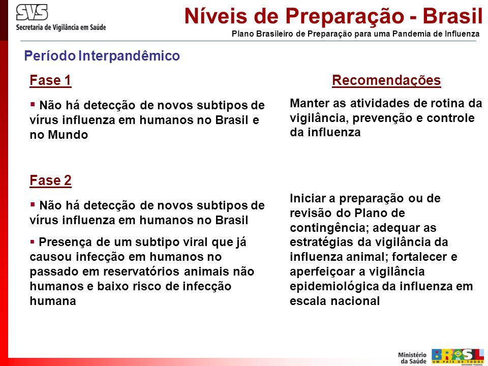 Período Interpandêmico Fase 1 Não há detecção de novos subtipos de vírus influenza em humanos no Brasil e no Mundo Fase 2 Não há detecção de novos sub