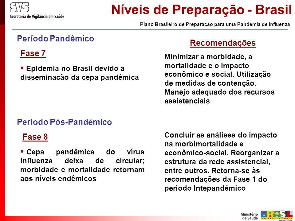 Período Pandêmico Fase 7 Epidemia no Brasil devido a disseminação da cepa pandêmica Recomendações Minimizar a morbidade, a mortalidade e o impacto eco
