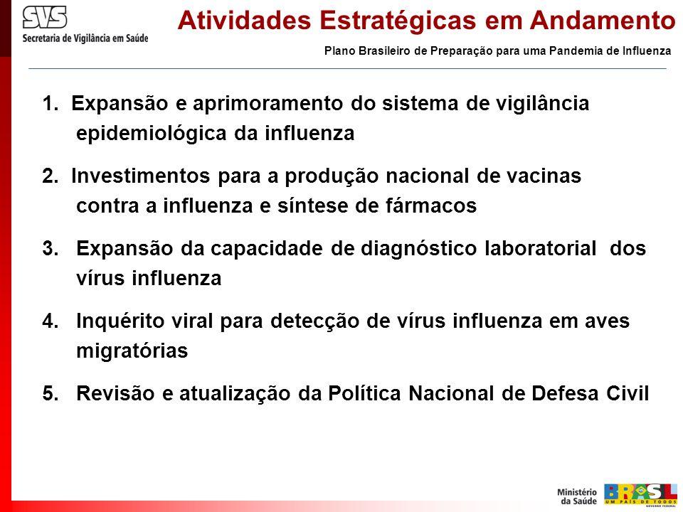 Atividades Estratégicas em Andamento 1. Expansão e aprimoramento do sistema de vigilância epidemiológica da influenza 2. Investimentos para a produção