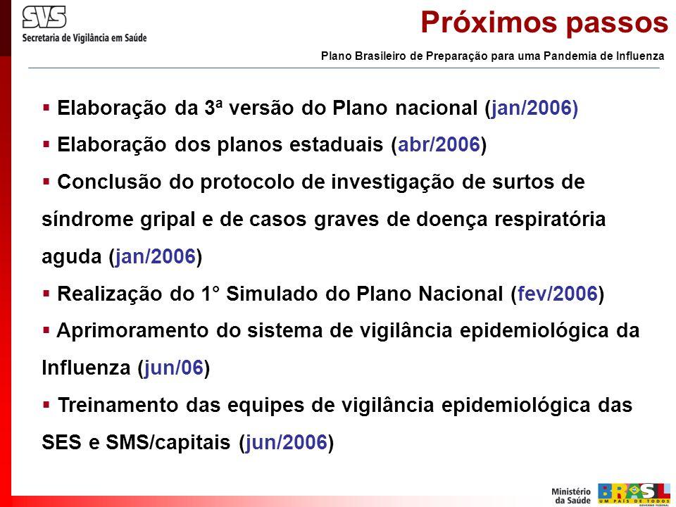 Próximos passos Elaboração da 3ª versão do Plano nacional (jan/2006) Elaboração dos planos estaduais (abr/2006) Conclusão do protocolo de investigação