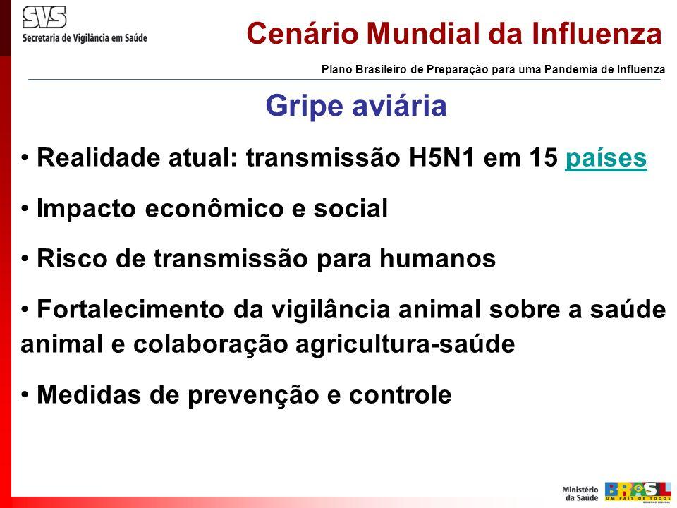 Cenário Mundial da Influenza Gripe aviária Plano Brasileiro de Preparação para uma Pandemia de Influenza Realidade atual: transmissão H5N1 em 15 paíse