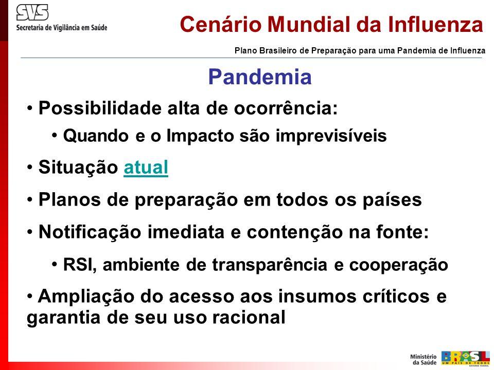 Cenário Mundial da Influenza Plano Brasileiro de Preparação para uma Pandemia de Influenza PaísCasosÓbitos Letalidade (%) Vietnã924245,7 Tailandia211361,9 Cambodja44100,0 Indonesia11763,6 China2150,0 Total1306751,5 Fonte: OMS, 24/11/2005 Casos humanos de A/H5N1 (dez /2003 a nov /2005)