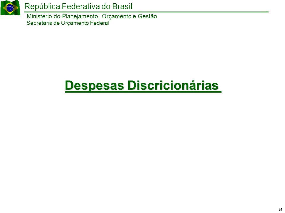 15 Ministério do Planejamento, Orçamento e Gestão República Federativa do Brasil Secretaria de Orçamento Federal Despesas Discricionárias