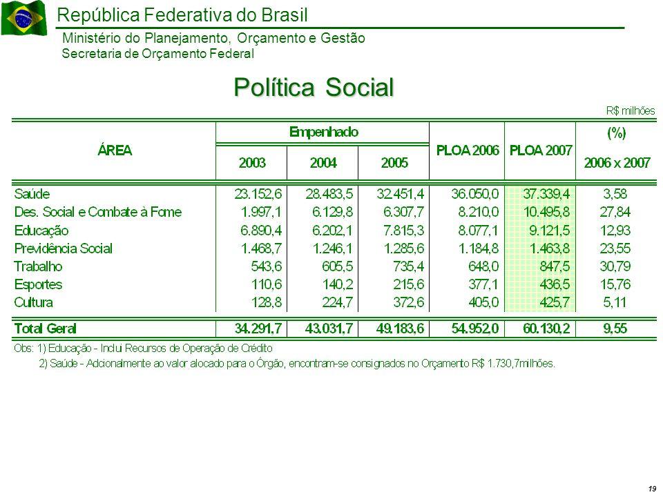 19 Ministério do Planejamento, Orçamento e Gestão República Federativa do Brasil Secretaria de Orçamento Federal Política Social