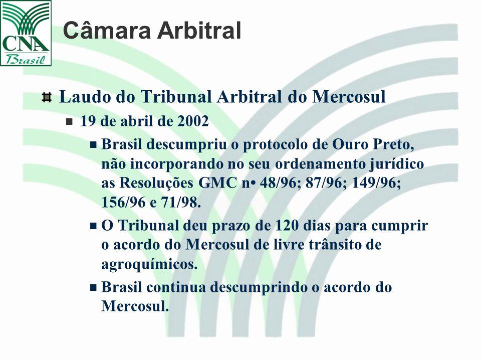 Câmara Arbitral Laudo do Tribunal Arbitral do Mercosul 19 de abril de 2002 Brasil descumpriu o protocolo de Ouro Preto, não incorporando no seu ordenamento jurídico as Resoluções GMC n 48/96; 87/96; 149/96; 156/96 e 71/98.