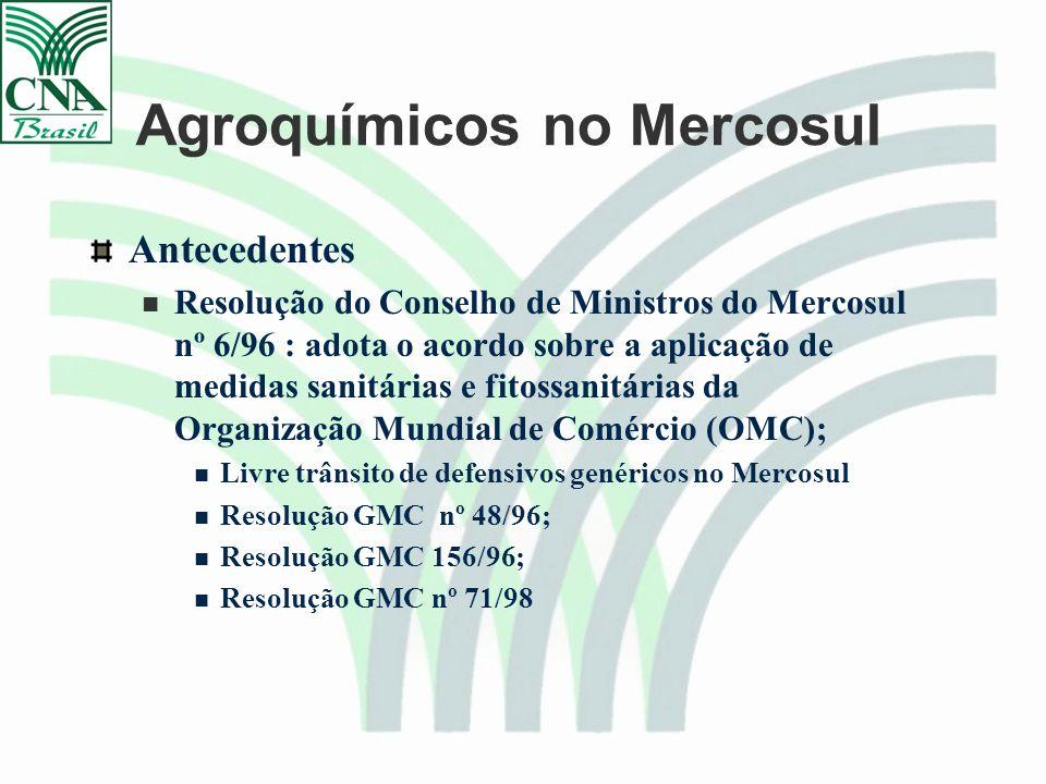 Agroquímicos no Mercosul Antecedentes Resolução do Conselho de Ministros do Mercosul nº 6/96 : adota o acordo sobre a aplicação de medidas sanitárias e fitossanitárias da Organização Mundial de Comércio (OMC); Livre trânsito de defensivos genéricos no Mercosul Resolução GMC nº 48/96; Resolução GMC 156/96; Resolução GMC nº 71/98