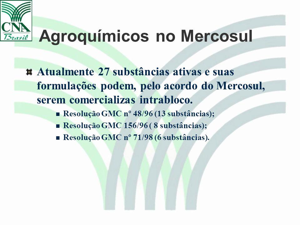 Agroquímicos no Mercosul Atualmente 27 substâncias ativas e suas formulações podem, pelo acordo do Mercosul, serem comercializas intrabloco.