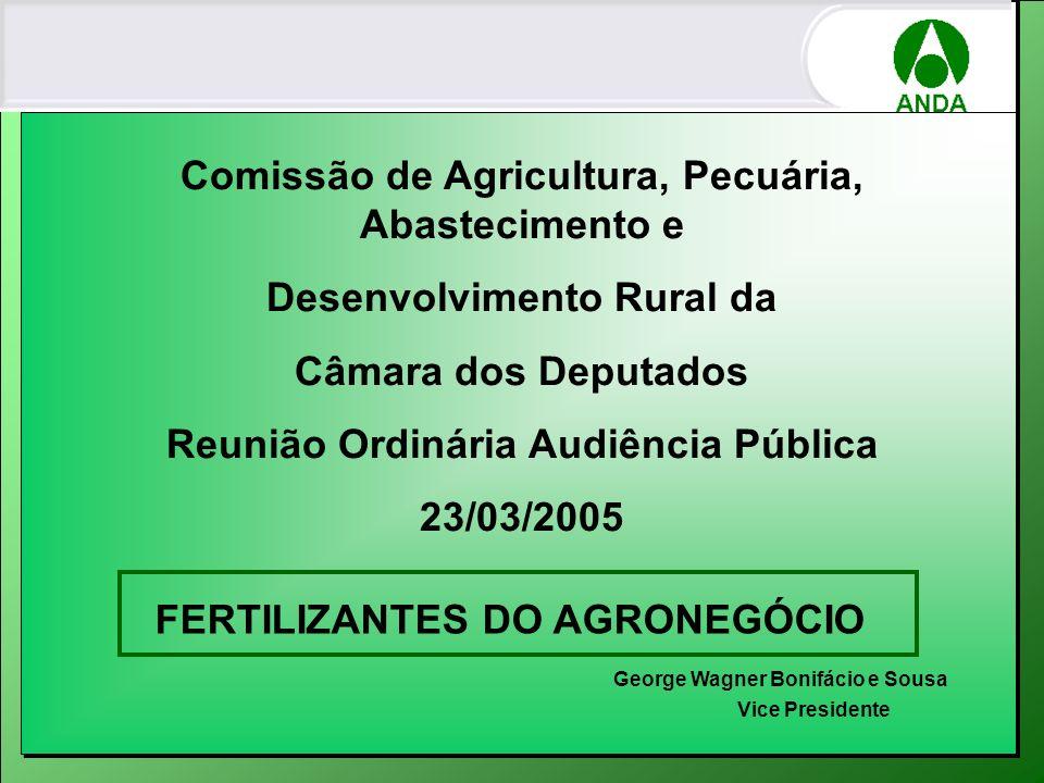 Consumo Fertilizantes por Cultura no Brasil - 2004 CONSUMO TOTAL (1000 TON) 2004 SOJA 8.838 – 38,8 % MILHO 3.731 – 16,3 % CANA DE AÇÚCAR 2.695 – 11,8 % CAFÉ 1.331 – 5,8 % ALGODÃO HERBÁCEO 1.078 – 4,7 % ARROZ 846 – 3,7 % TRIGO 755 – 3,3 % Feijão 602 – 2,6 % FUMO 517 – 2,2 % BATATA 356 – 1,5 % SUB-TOTAL 20.749 – 91,1% OUTRAS 2.018 – 8,9 % TOTAL 22.767 – 100 % 77,59%