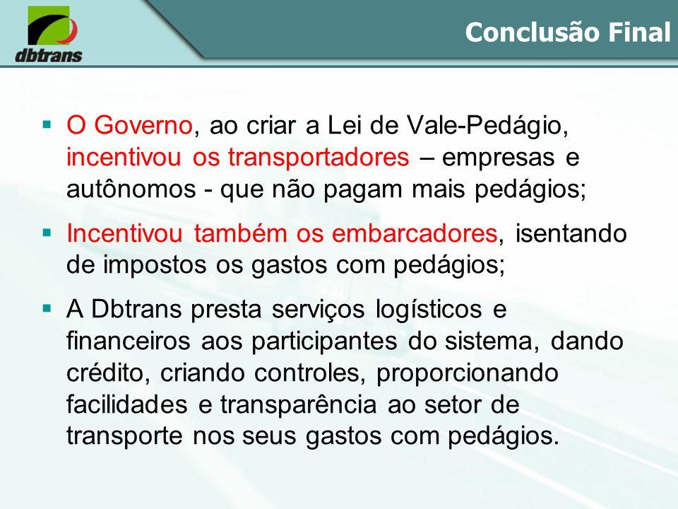 Conclusão Final O Governo, ao criar a Lei de Vale-Pedágio, incentivou os transportadores – empresas e autônomos - que não pagam mais pedágios; Incenti