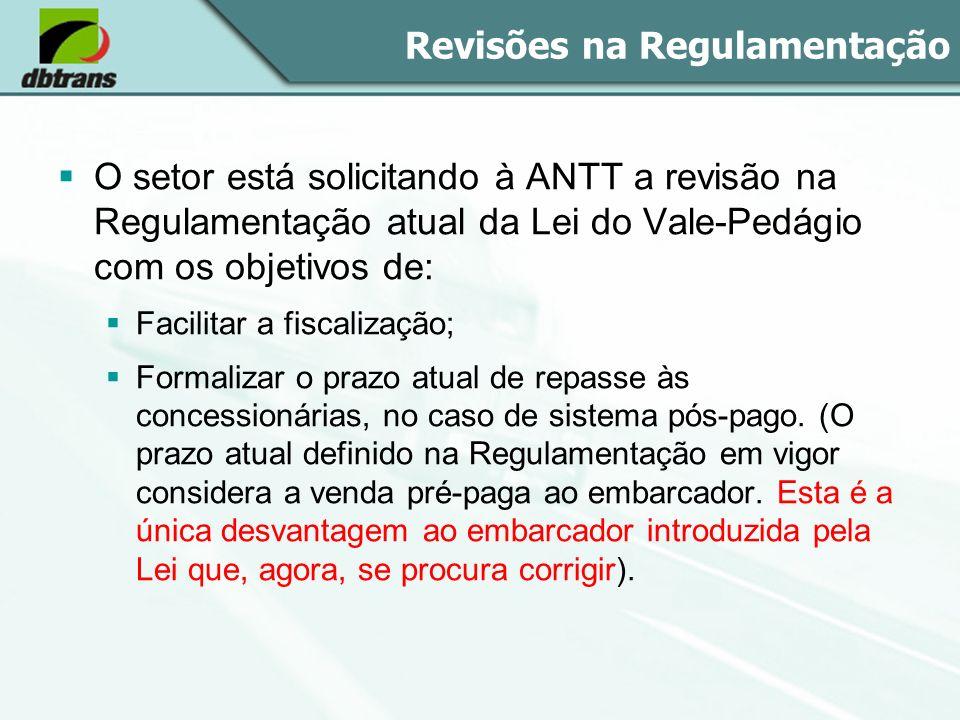 Revisões na Regulamentação O setor está solicitando à ANTT a revisão na Regulamentação atual da Lei do Vale-Pedágio com os objetivos de: Facilitar a f