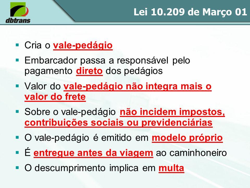 Lei 10.209 de Março 01 Cria o vale-pedágio Embarcador passa a responsável pelo pagamento direto dos pedágios Valor do vale-pedágio não integra mais o