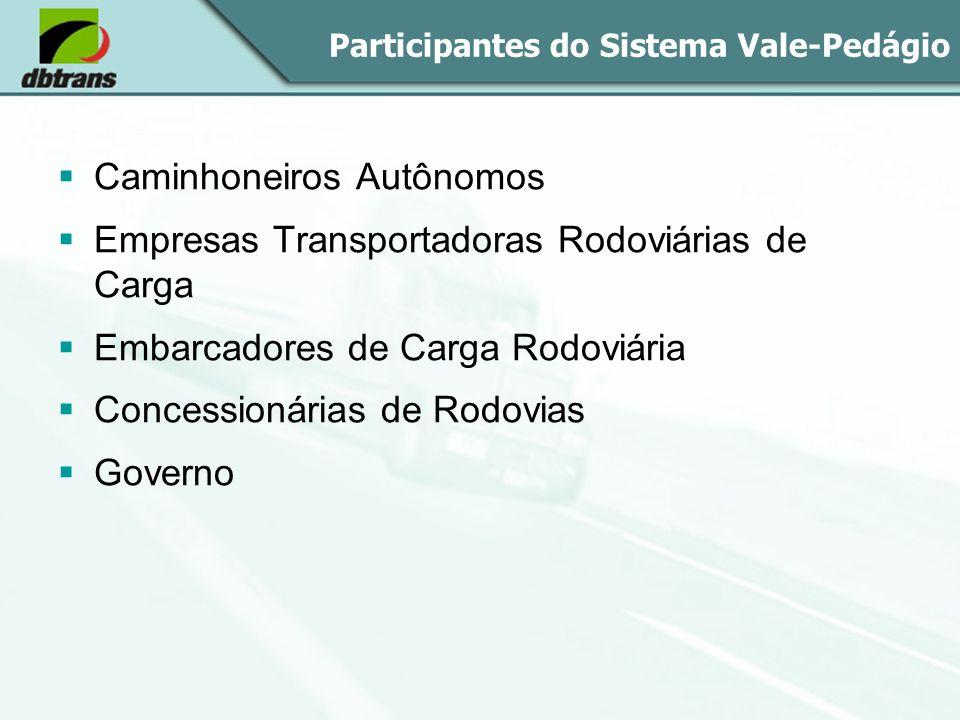 Participantes do Sistema Vale-Pedágio Caminhoneiros Autônomos Empresas Transportadoras Rodoviárias de Carga Embarcadores de Carga Rodoviária Concessio