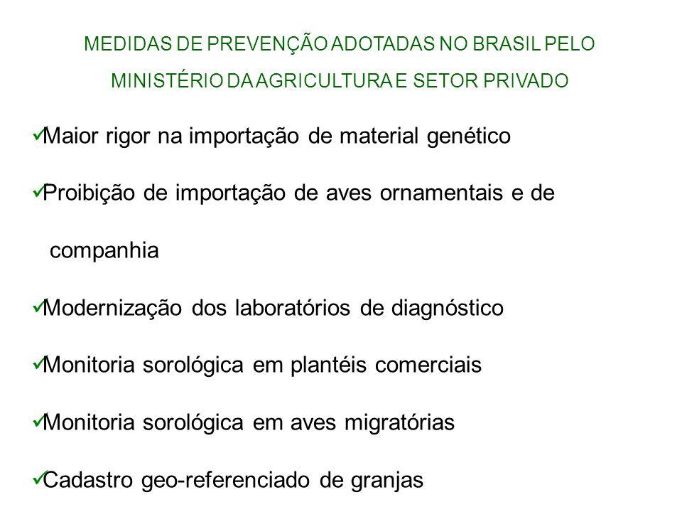 MEDIDAS DE PREVENÇÃO ADOTADAS NO BRASIL PELO MINISTÉRIO DA AGRICULTURA E SETOR PRIVADO Maior rigor na importação de material genético Proibição de imp
