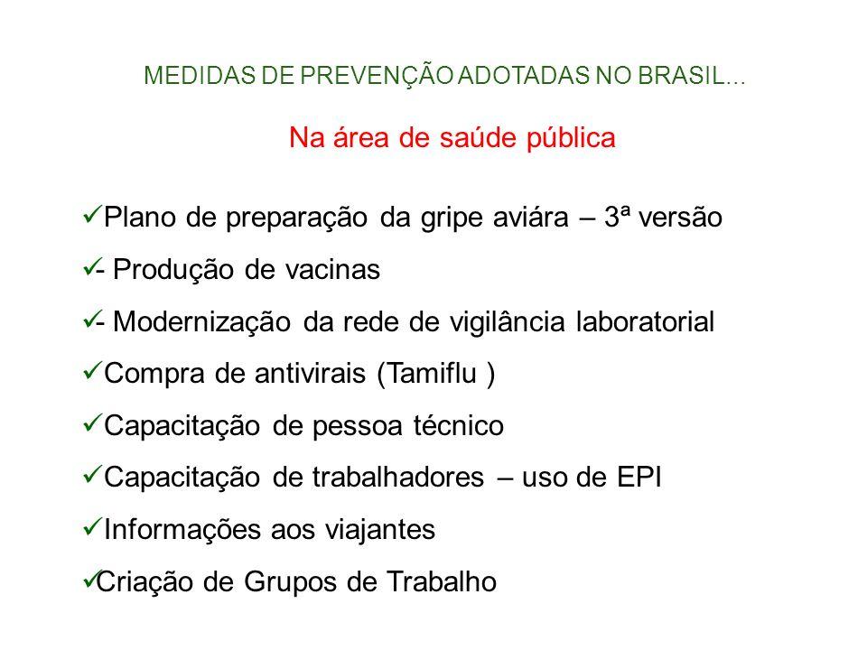 MEDIDAS DE PREVENÇÃO ADOTADAS NO BRASIL... Na área de saúde pública Plano de preparação da gripe aviára – 3ª versão - Produção de vacinas - Modernizaç