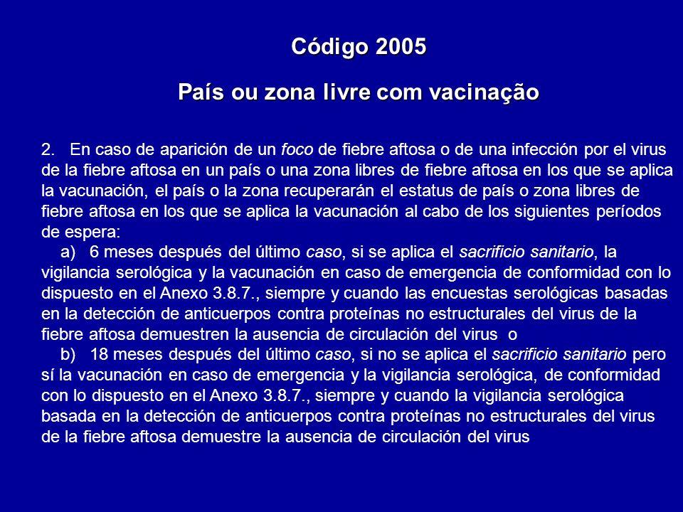 2. En caso de aparición de un foco de fiebre aftosa o de una infección por el virus de la fiebre aftosa en un país o una zona libres de fiebre aftosa