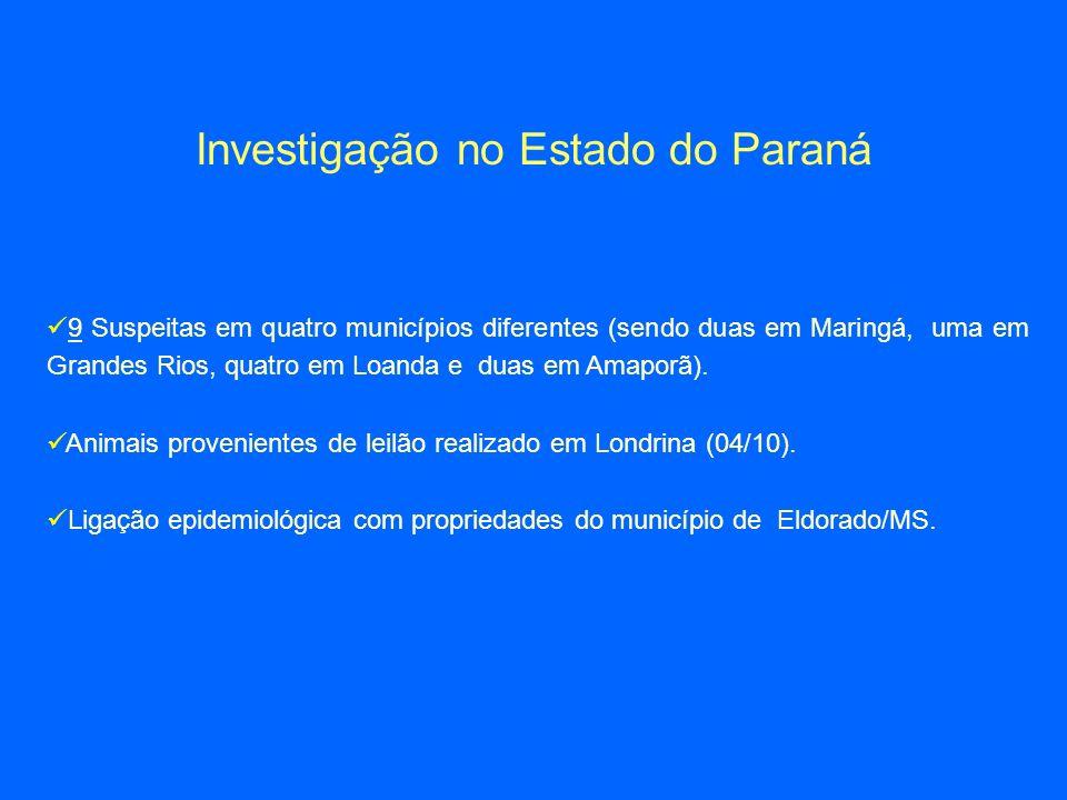 Investigação no Estado do Paraná 9 Suspeitas em quatro municípios diferentes (sendo duas em Maringá, uma em Grandes Rios, quatro em Loanda e duas em Amaporã).