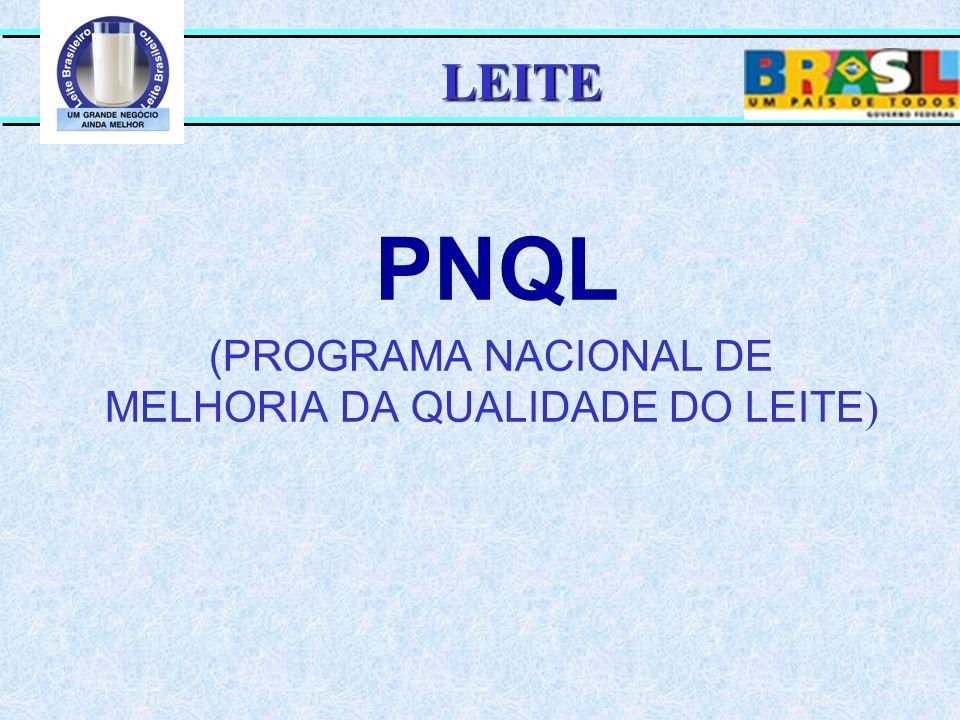 PNQL (PROGRAMA NACIONAL DE MELHORIA DA QUALIDADE DO LEITE ) LEITE
