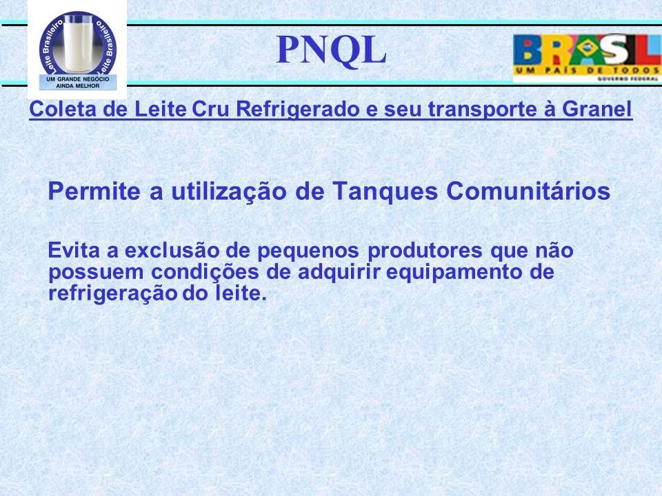 PNQL Coleta de Leite Cru Refrigerado e seu transporte à Granel Permite a utilização de Tanques Comunitários Evita a exclusão de pequenos produtores qu