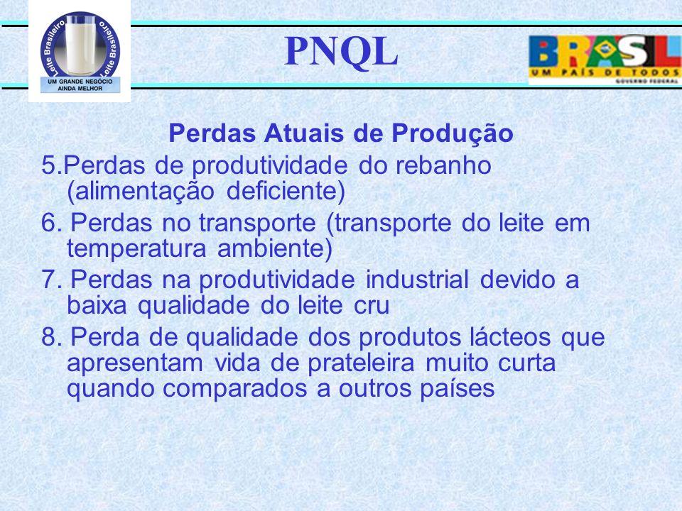 PNQL Perdas Atuais de Produção 5.Perdas de produtividade do rebanho (alimentação deficiente) 6. Perdas no transporte (transporte do leite em temperatu