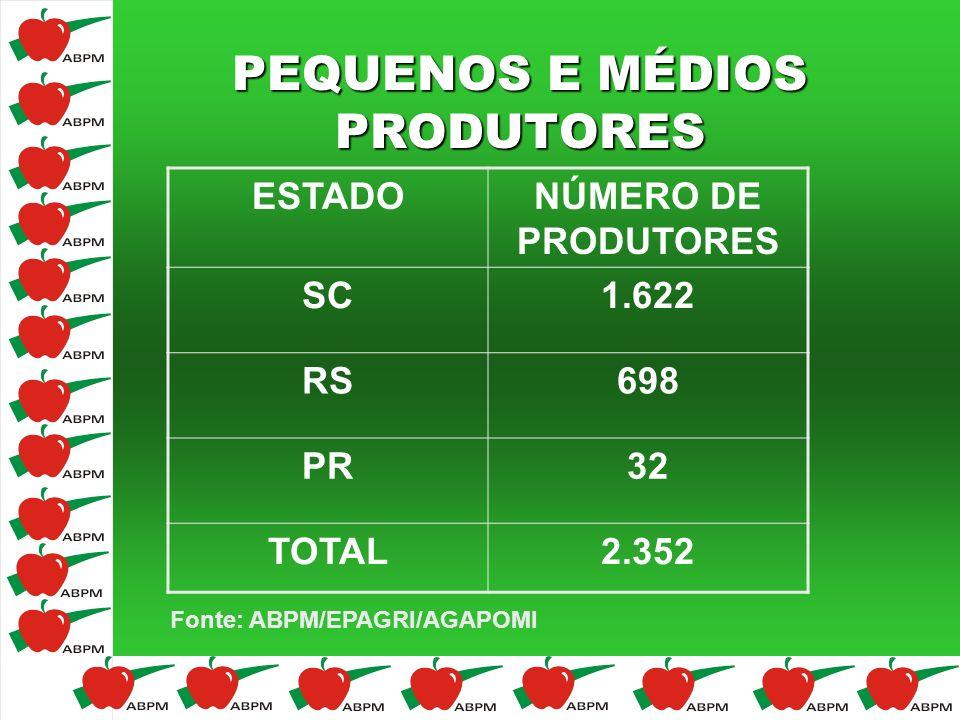 PEQUENOS E MÉDIOS PRODUTORES ESTADONÚMERO DE PRODUTORES SC1.622 RS698 PR32 TOTAL2.352 Fonte: ABPM/EPAGRI/AGAPOMI