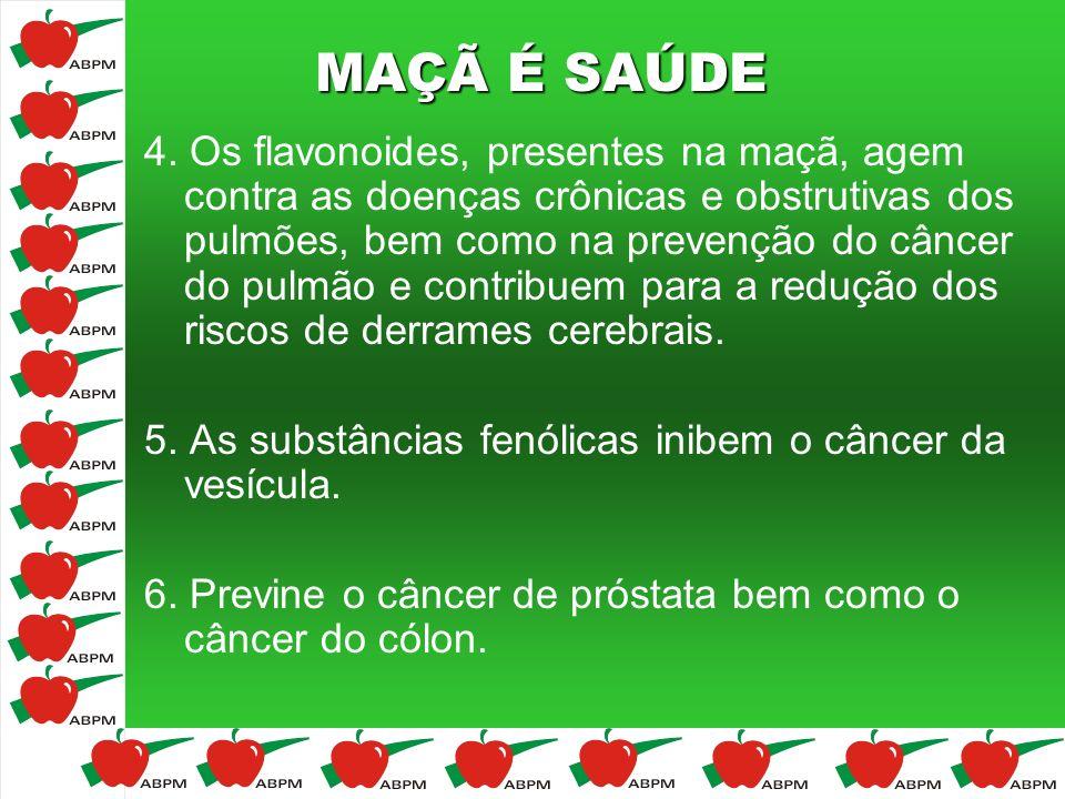 MAÇÃ É SAÚDE 4. Os flavonoides, presentes na maçã, agem contra as doenças crônicas e obstrutivas dos pulmões, bem como na prevenção do câncer do pulmã