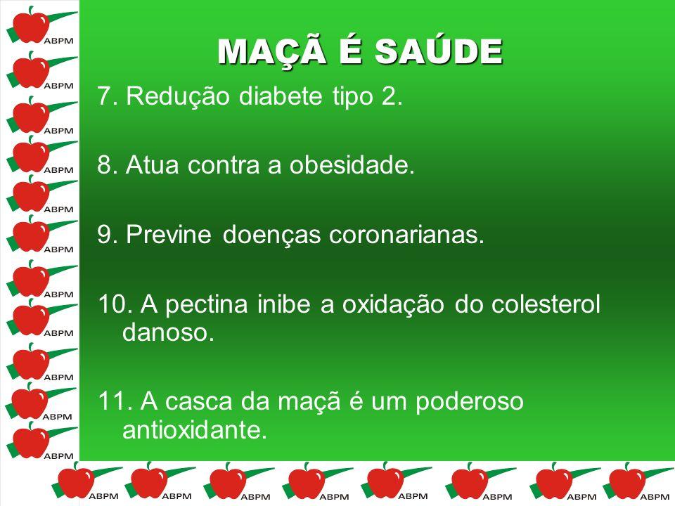 MAÇÃ É SAÚDE 7. Redução diabete tipo 2. 8. Atua contra a obesidade. 9. Previne doenças coronarianas. 10. A pectina inibe a oxidação do colesterol dano