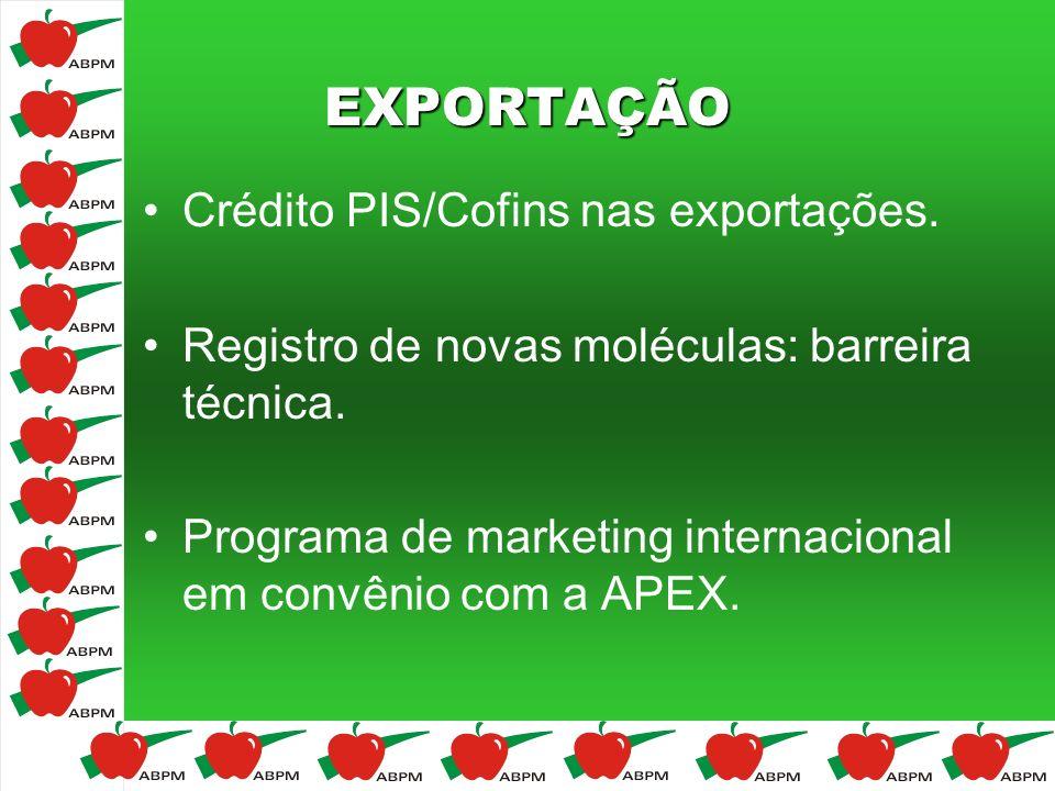 EXPORTAÇÃO Crédito PIS/Cofins nas exportações. Registro de novas moléculas: barreira técnica. Programa de marketing internacional em convênio com a AP