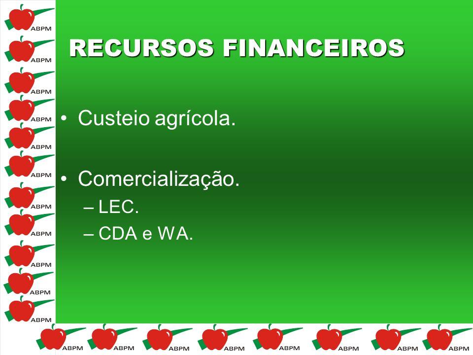 RECURSOS FINANCEIROS Custeio agrícola. Comercialização. –LEC. –CDA e WA.