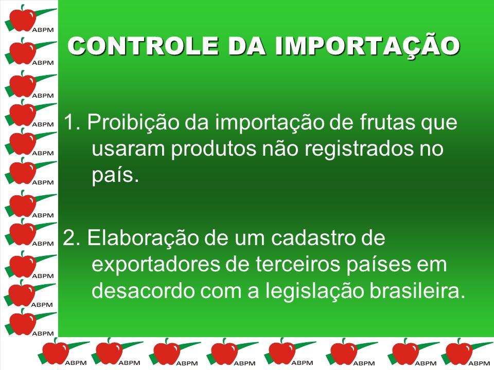 CONTROLE DA IMPORTAÇÃO 1. Proibição da importação de frutas que usaram produtos não registrados no país. 2. Elaboração de um cadastro de exportadores