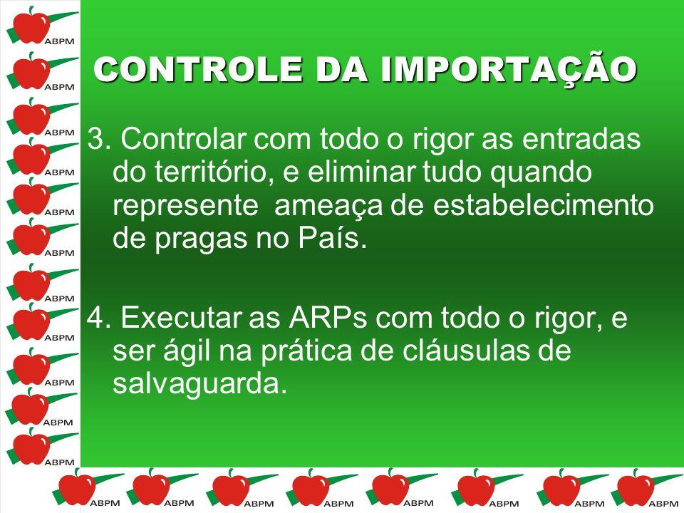 CONTROLE DA IMPORTAÇÃO 3. Controlar com todo o rigor as entradas do território, e eliminar tudo quando represente ameaça de estabelecimento de pragas