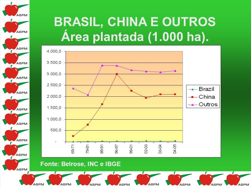BRASIL, CHINA E OUTROS Área plantada (1.000 ha). Fonte: Belrose, INC e IBGE