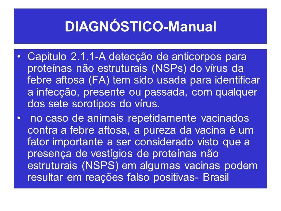 DIAGNÓSTICO-Manual Capitulo 2.1.1-A detecção de anticorpos para proteínas não estruturais (NSPs) do vírus da febre aftosa (FA) tem sido usada para ide