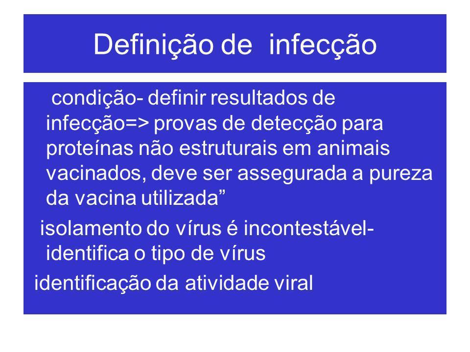 Definição de infecção condição- definir resultados de infecção=> provas de detecção para proteínas não estruturais em animais vacinados, deve ser asse