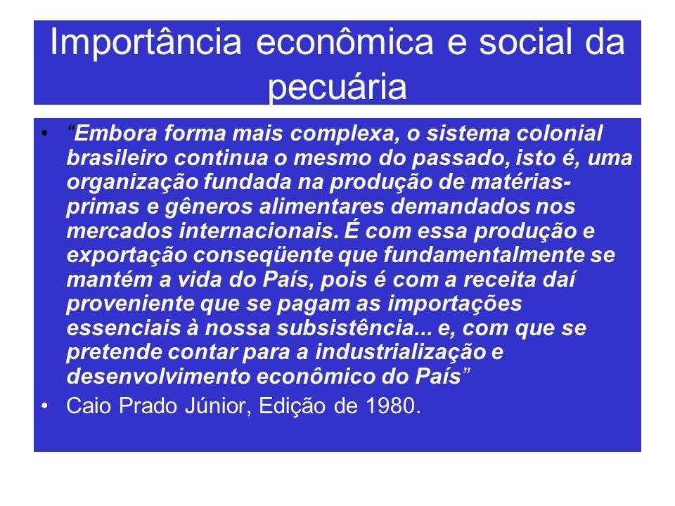 Importância econômica e social da pecuária Embora forma mais complexa, o sistema colonial brasileiro continua o mesmo do passado, isto é, uma organiza